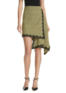 Robert Rodriguez Lace Trim Plaid Skirt