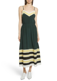 Robert Rodriguez Lace Trim Silk Slipdress