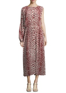 Robert Rodriguez Leopard-Print One-Sleeve Silk Dress