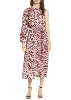 Robert Rodriguez Leopard Print Silk Midi Dress