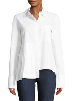 Robert Rodriguez Long-Sleeve Button-Front Cotton Shirt with Asymmetric Pleat Detail
