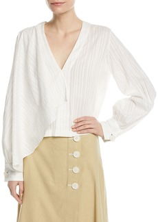 Robert Rodriguez Long-Sleeve Tonal-Stripe Front Drape Cotton Blouse