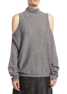 Robert Rodriguez Merino Wool Cold-Shoulder Pullover Sweater