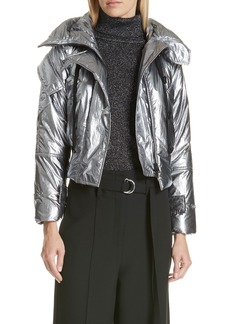 Robert Rodriguez Metallic Crop Puffer Jacket