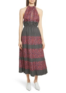 Robert Rodriguez Mixed Print Halter Dress
