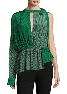 Robert Rodriguez Printed One-Shoulder Silk Blouse