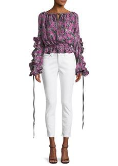 Robert Rodriguez Orchid-Print Ruffle Long-Sleeve Silk Blouse
