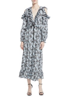 Robert Rodriguez Orchid-Print V-Neck Silk Ruffled Maxi Dress