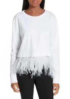 Robert Rodriguez Ostrich Feather Trim Sweatshirt