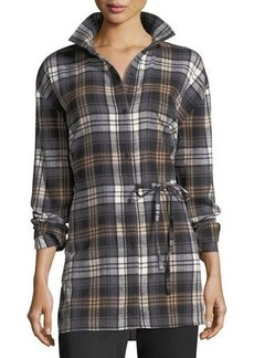 Robert Rodriguez Oversized Plaid Shirt with Tie Detail