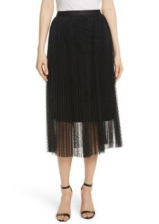 Robert Rodriguez Pleated Polka Dot Mesh Midi Skirt