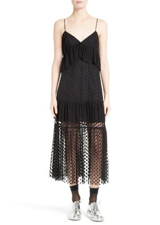 Robert Rodriguez Polka Dot Lace Midi Dress