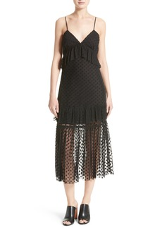 Robert Rodriguez Polka Dot Lace Midi Dress