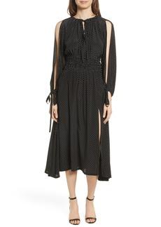 Robert Rodriguez Polka Dot Silk Cold Shoulder Dress