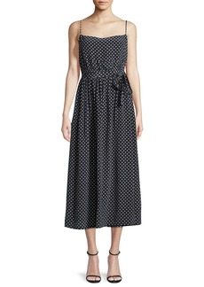 Robert Rodriguez Polka-Dot Sleeveless Midi Slip Dress