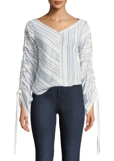 Robert Rodriguez Ruched-Sleeve Striped Shirt