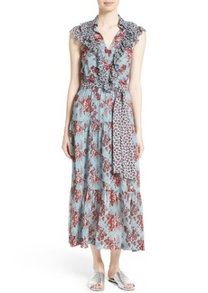Robert Rodriguez Ruffle Print Silk Dress