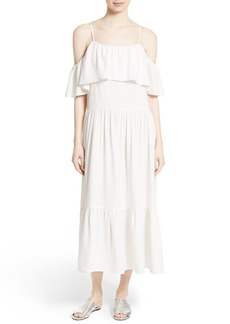 Robert Rodriguez Ruffle Silk Cold Shoulder Dress