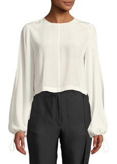 Robert Rodriguez Ruffled-Back Split-Sleeve Cropped Blouse