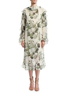 Robert Rodriguez Ruffled Low-High Hem Midi Dress