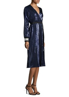 Robert Rodriguez Sequin Robe Wrap Dress
