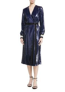 Robert Rodriguez Sequined Wrap Midi Dress