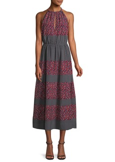 Robert Rodriguez Sleeveless Halter Mixed-Print Midi Dress