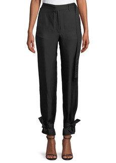 Robert Rodriguez Slim Silk Pants with Tie Cuffs