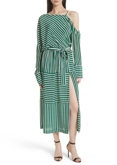 Robert Rodriguez Stripe Silk Cold Shoulder Dress