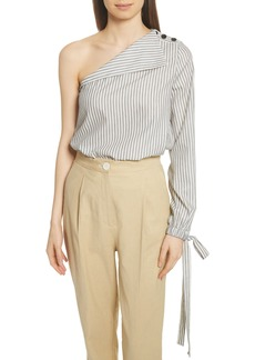 Robert Rodriguez Stripe Tie Cuff One-Shoulder Top