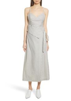 Robert Rodriguez Stripe Wrap Front Midi Dress