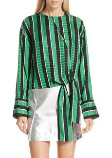 Robert Rodriguez Tie Waist Stripe Blouse