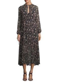 Robert Rodriguez Tiered Floral-Print Peasant Chiffon Maxi Dress