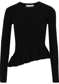 Robert Rodriguez Woman Asymmetric Ruffle-trimmed Ribbed-knit Top Black