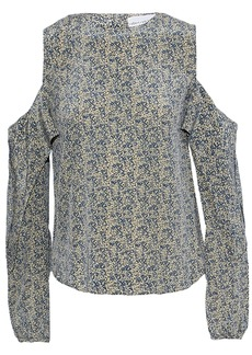 Robert Rodriguez Woman Cold-shoulder Ruffled Printed Silk Blouse Blue