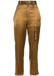 Robert Rodriguez Woman Cropped Belted Satin Tapered Pants Brass