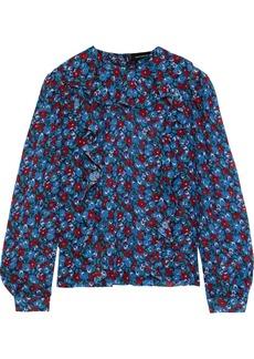 Robert Rodriguez Woman Floral-print Cotton And Silk-blend Georgette Blouse Azure
