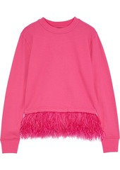 Robert Rodriguez Woman Helena Feather-trimmed French Cotton-terry Sweatshirt Bright Pink