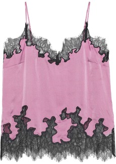 Robert Rodriguez Woman Lace-trimmed Hammered Silk-charmeuse Camisole Lavender
