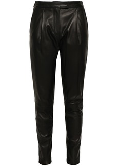Robert Rodriguez Woman Leather Tapered Pants Black