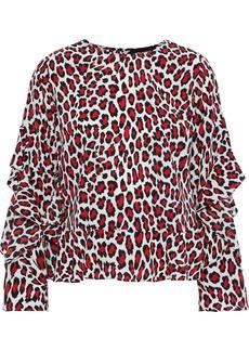 Robert Rodriguez Woman Lena Ruffled Leopard-print Crepe De Chine Top Red