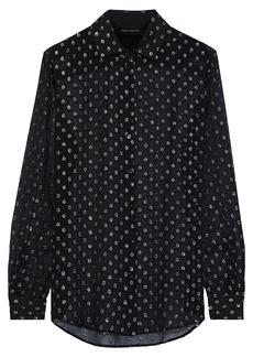 Robert Rodriguez Woman Metallic Fil Coupé Silk-blend Georgette Shirt Black