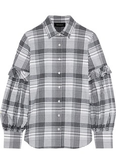 Robert Rodriguez Woman Pauline Ruffle-trimmed Checked Cotton Shirt Black