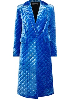 Robert Rodriguez Woman Quilted Velour Coat Blue