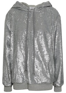 Robert Rodriguez Woman Sequined Knitted Hooded Sweatshirt Silver
