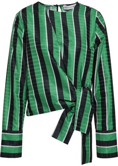 Robert Rodriguez Woman Wrap-effect Striped Satin-jacquard Top Green