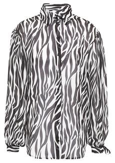 Robert Rodriguez Woman Zebra-print Georgette Shirt Ivory