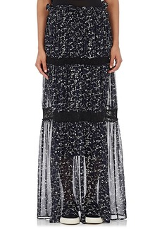 Robert Rodriguez Women's Appliquéd Chiffon Tiered Maxi Skirt