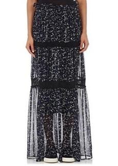 Robert Rodriguez Women's Appliquéd Chiffon Tiered Maxi Skirt