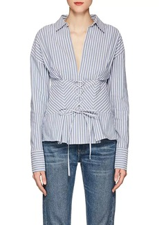 Robert Rodriguez Women's Corset-Waist Striped Cotton-Blend Blouse